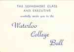 Waterloo College Ball inviatation, 1958