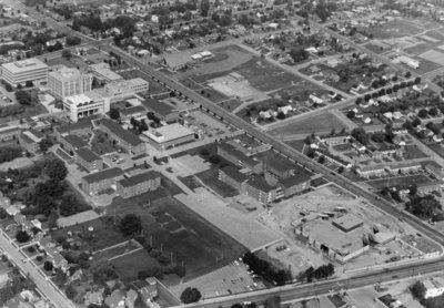 Aerial view of Waterloo Lutheran University, 1972
