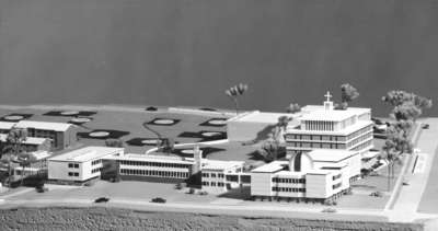 Architectural model of proposed campus plan, Waterloo Lutheran University