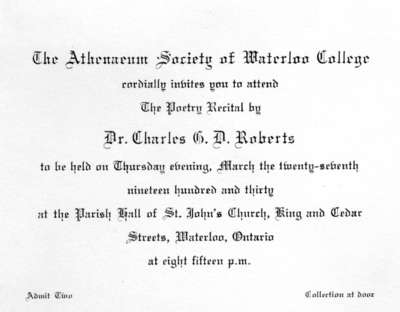 Invitation to Charles G.D. Roberts poetry recital, 1930
