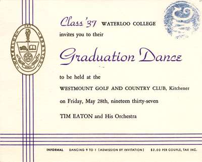 Waterloo College graduation dance invitation, 1937