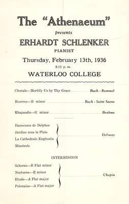 "The ""Athenaeum"" presents Erhardt Schlenker, pianist"