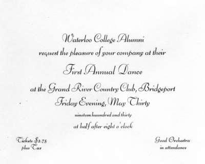 Waterloo College Alumni First Annual Dance Invitation 1930 Laurier