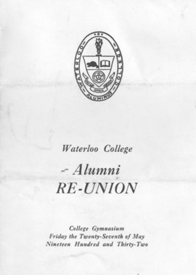 Waterloo College Alumni Reunion dance card, 1932
