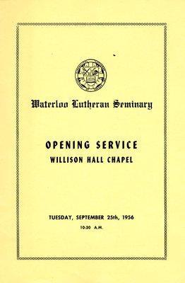 Waterloo Lutheran Seminary : opening service, Willison Hall Chapel