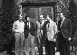 Five men standing in front of Willison Hall, Waterloo College