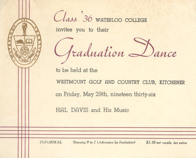 Waterloo College graduation dance invitation, 1936