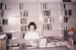 Staff member in Waterloo Lutheran University library, Willison Hall