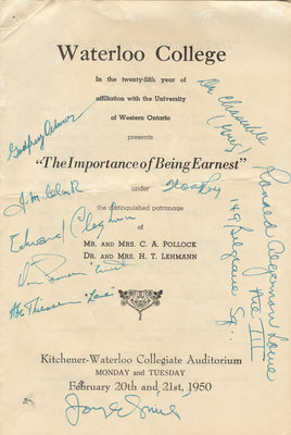 "Waterloo College...presents ""The importance of being Earnest"""