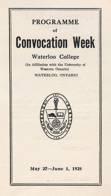 Programme of Convocation Week, Waterloo College, 1928