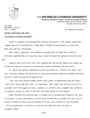 003-1966 : Advance admissions now final  at Waterloo Lutheran University
