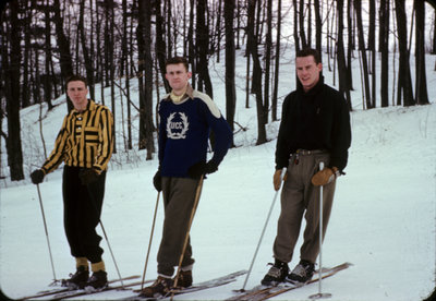 Three Waterloo College students skiing at Chicopee, Kitchener