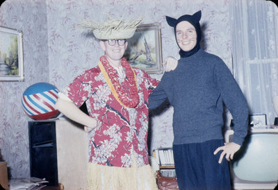 Harold Russell and John Fuchs in Halloween costume