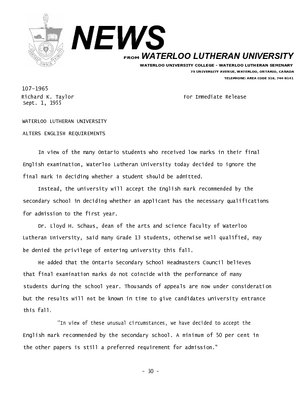 107-1965 : Waterloo Lutheran University alters English requirements