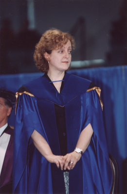 Cynthia Comacchio at spring convocation 2002, Wilfrid Laurier University