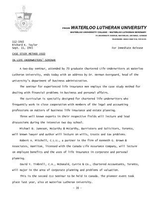 112-1965 : Case study method used in life underwriters' seminar