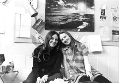 Two female students in a residence room, Waterloo Lutheran University