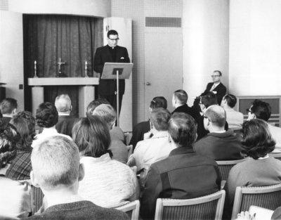 Barry Lang leading chapel service at Waterloo Lutheran University