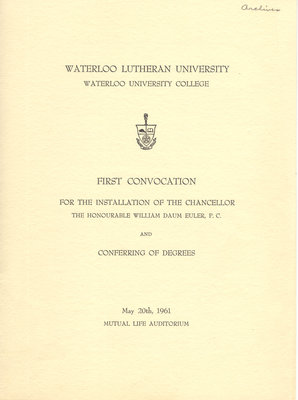 Waterloo Lutheran University first convocation program, 1961