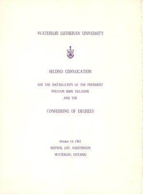 Waterloo Lutheran University fall convocation 1961 program