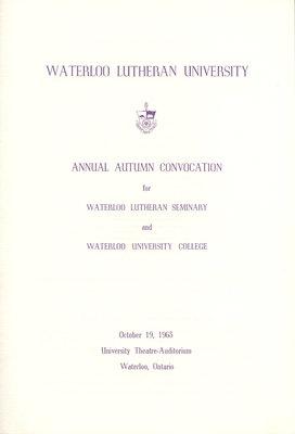 Waterloo Lutheran University fall convocation 1963 program