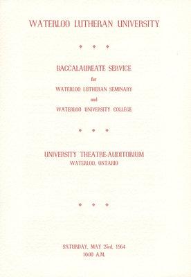 Waterloo Lutheran University baccalaureate service program, 1964