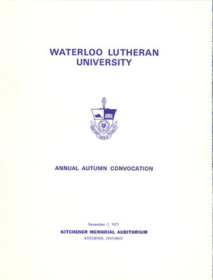 Waterloo Lutheran University fall convocation 1971 program