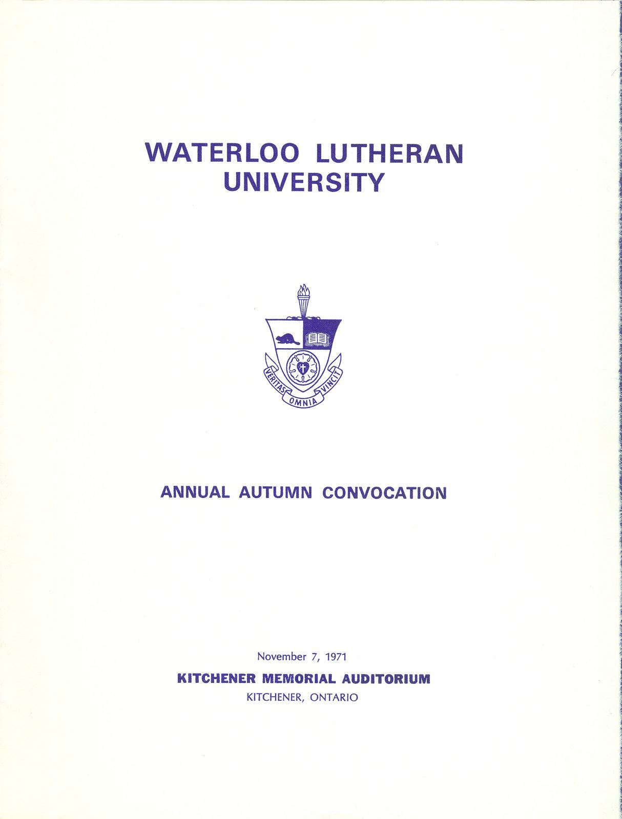 Waterloo Lutheran University fall convocation 1971 program