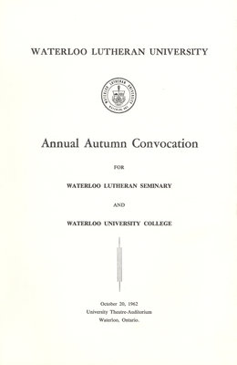 Waterloo Lutheran University fall convocation 1962 program