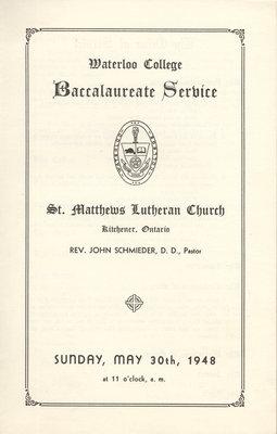 Waterloo College baccalaureate service program, 1948