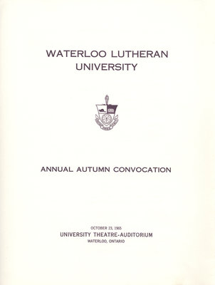 Waterloo Lutheran University fall convocation 1965 program