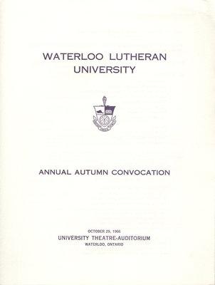 Waterloo Lutheran University fall convocation 1966 program