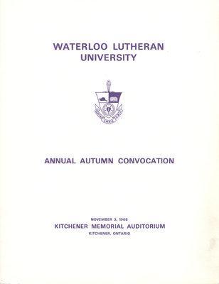 Waterloo Lutheran University fall convocation 1968 program