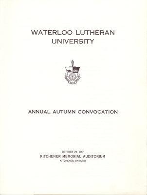 Waterloo Lutheran University fall convocation 1967 program