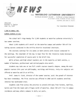 085-1966 : 1,900 to enroll for summer courses at WLU
