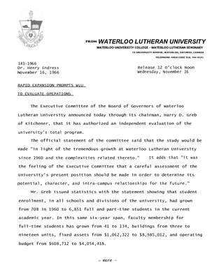 141-1966 : Rapid expansion prompts WLU to evaluate operations