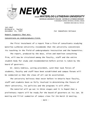 142-1967 : Report suggests that WLU concentrate on undergraduate field