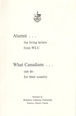 Alumni...the living letter from WLU : What Canadians can do for their country