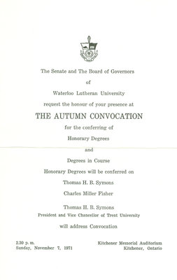 Waterloo Lutheran University convocation ceremony and baccalaureate service invitation, fall 1971