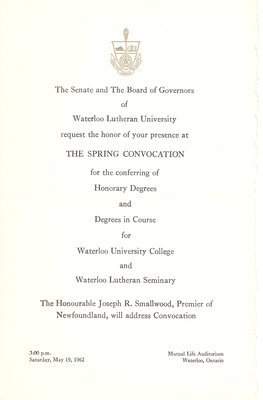Waterloo Lutheran University convocation and baccalaureate service invitation, spring 1962