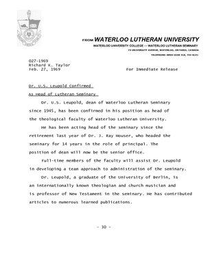 027-1969 : Dr. U. S. Leupold confirmed as head of Lutheran Seminary