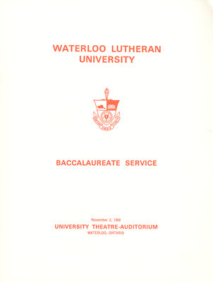 Waterloo Lutheran University baccalaureate service program, fall 1969