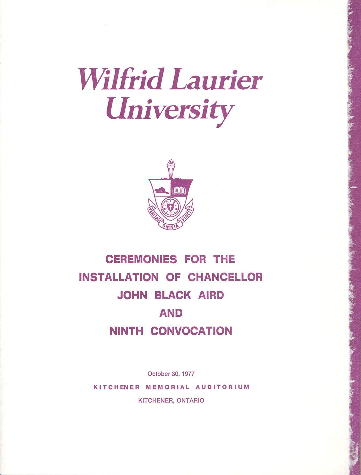 Wilfrid Laurier University fall convocation 1977 program