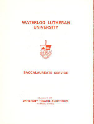 Waterloo Lutheran University baccalaureate service program, fall 1971