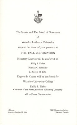 Waterloo Lutheran University fall convocation 1966 invitation