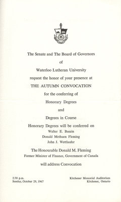 Waterloo Lutheran University 1967 fall convocation and baccalaureate service invitation