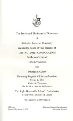 Waterloo Lutheran University 1968 fall convocation and baccalaureate service invitation