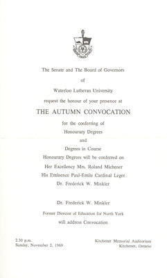 Waterloo Lutheran University 1969 fall convocation and baccalaureate service invitation