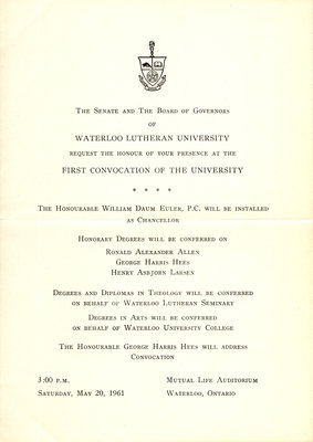 Waterloo Lutheran University 1961 spring convocation ceremony and baccalaureate service invitation