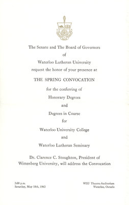 Waterloo Lutheran University 1963 spring convocation ceremony and baccalaureate service invitation